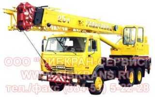 Кран Галичанин 25 тонн на базе КАМаз — технические характеристики автокрана